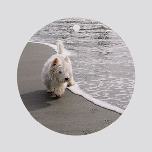 Beachcombing Westie 2 Round Ornament