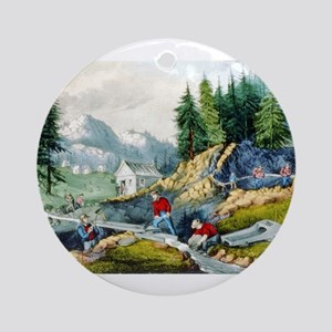 Gold mining in California - 1871 Round Ornament