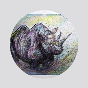 Rhino, wildlife, Ornament (Round)