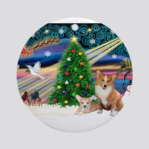 Xmas Magic & 2 Corgis (P3) Ornament (Round)