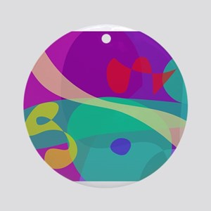Bright Happy Abstract Purple and Green Ornament (R