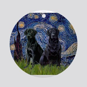Starry Night / 2 Black Labs Ornament (Round)