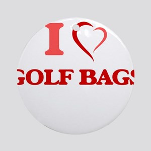 I love Golf Bags Round Ornament