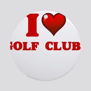 I love Golf Clubs Round Ornament