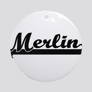 Merlin Classic Retro Name Design Ornament (Round)