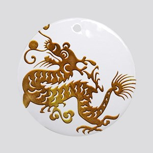 Chinese Decorative Gold Dragon Ornament (Round)