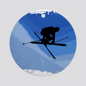 Skier Jumping Skis Crossed Ornament (Round)