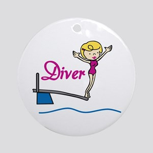 Diver Woman Ornament (Round)