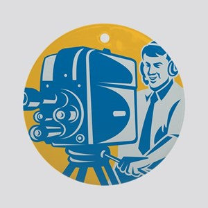 TV Cameraman retro Ornament (Round)