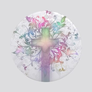 Pastel Floral Cross Ornament (Round)