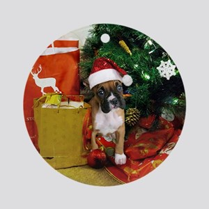 Christmas boxer puppy Ornament (Round)