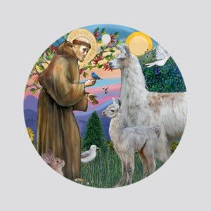 Saint Francis with Llama Mama & Baby Ornament (Rou
