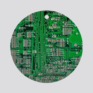 Circuit Board Ornament (Round)
