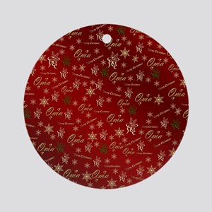 oma merry christmas golden text ele Round Ornament