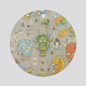 Japanese Collage Ornament (Round)
