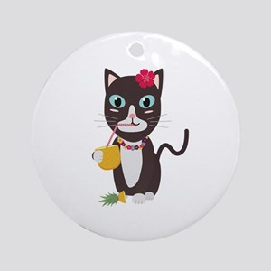 Hawaii cat with pineapple Round Ornament