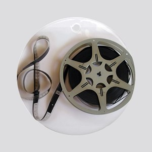 Clef and Film Reel by Leslie Harlow Round Ornament