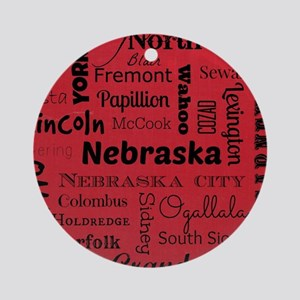 Nebraska Cities Round Ornament