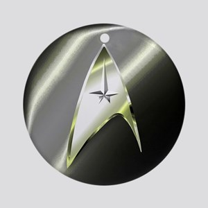 Black Silver Star Trek Ornament (Round)