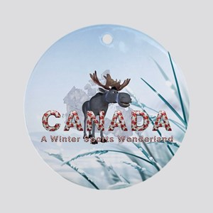 Canada Winter Sports Round Ornament