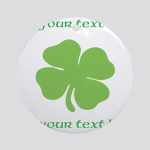 St. Patricks Day personalisable shamrock Round Orn
