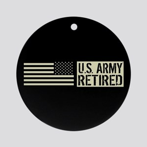 U.S. Army: Retired (Black Flag) Round Ornament