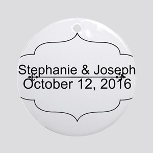 Elegant Wedding Name and Date Custom Round Ornamen