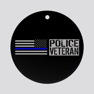 Police: Police Veteran (Black Flag Round Ornament