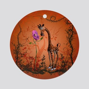 Funny giraffe with flower Round Ornament