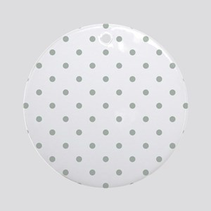 Green, Sage: Polka Dots Pattern (Sm Round Ornament