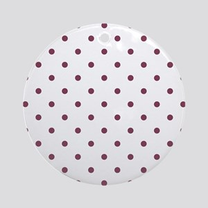 Purple, Mulberry: Polka Dots Patter Round Ornament