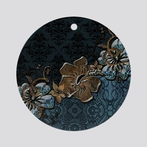 Blue vintage design with flowers Round Ornament