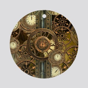 Steampunk, awessome clocks with gears Round Orname