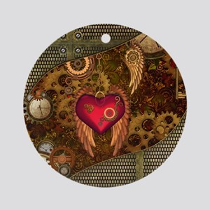 Steampunk, heart with wings, clocks and gears Roun