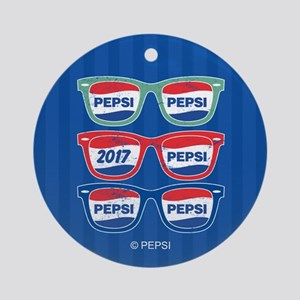 Pepsi Glasses Round Ornament