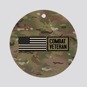 Military: Combat Veteran (Camo) Round Ornament