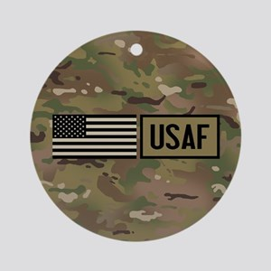 U.S. Air Force: USAF (Camo) Round Ornament