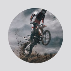 Motocross Rider Round Ornament