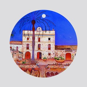 Joan Miro House with Palm Tree Round Ornament