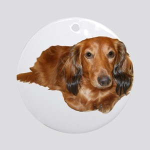 Long Hair Red Dachshund Ornament (Round)