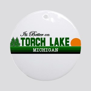 Its Better on Torch Lake, Mic Ornament (Round)