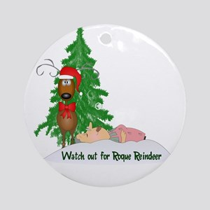 Reindeeer Going Rogue Ornament (Round)