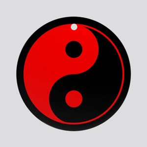 Red Yin Yang Ornament (Round)