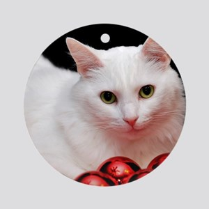 Xmas Cat Ornament (Round)