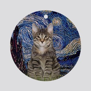 Starry Night & Tiger Cat Ornament (Round)