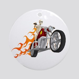 Skeleton Biker with Flames Ornament (Round)