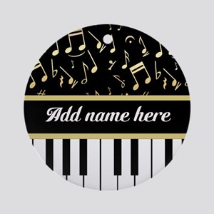 Personalized Piano and musical notes Ornament (Rou