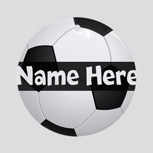Personalized Soccer Ball Black/White Round Ornamen
