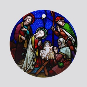 Nativity in stained glass Ornament (Round)