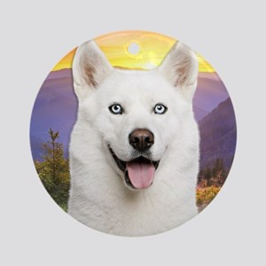 White Husky Meadow Ornament (Round)